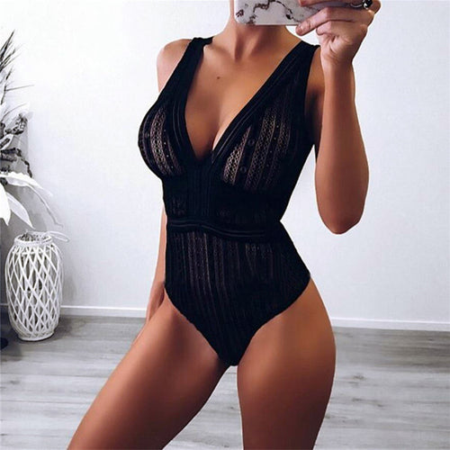 Sheer Mesh Lace Bodysuit