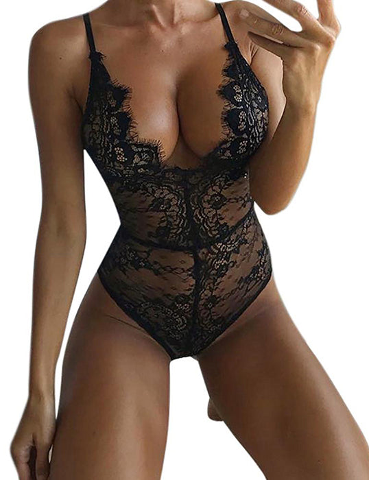 Women Sexy V-Neck See Through Lace Floral Bodysuits