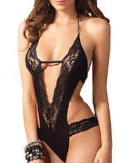 Sexy Lingerie Teddy Halter Lace Mesh Backless Bodysuit