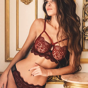 Lace Floral Bra Set