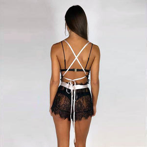 Floral Lace-Up Backless Nightwear