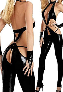 Leather Deep V Open Crotch Bodysuit