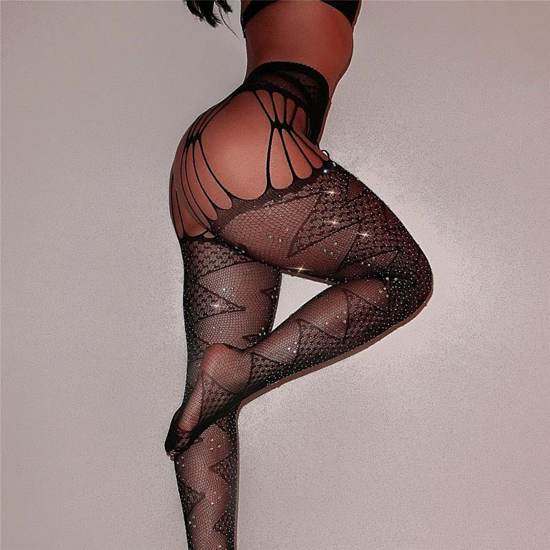Sparkle Rhinestone Cut Out Tights