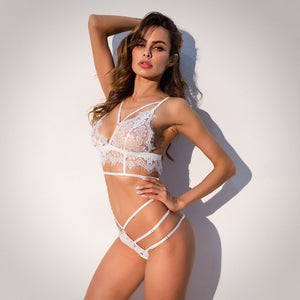 Sheer Harness Eyelash Lace Bra Set