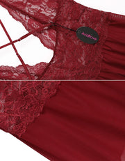 Sheer Lace Mesh See-through Open Crotch Lingerie Dress Red