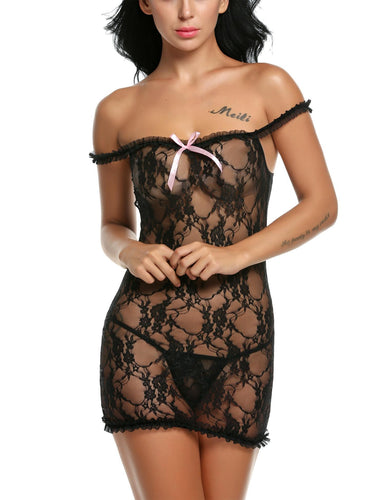 Lace See Through Babydoll Dress with G-string