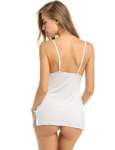 White Lace Patchwork Lingerie Dress with G-String