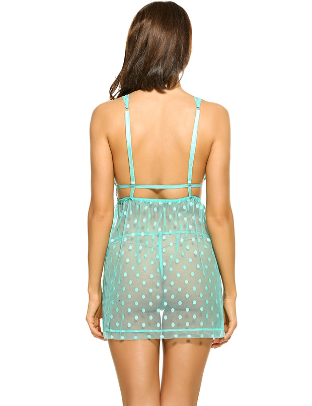 Sexy Lace-Trimmed Sheer Dot Babydoll with G-string Green
