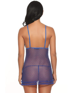 Blue Dot Sheer Mesh Babydoll with G-String