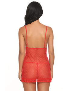 Red Dot Sheer Mesh Babydoll with G-String