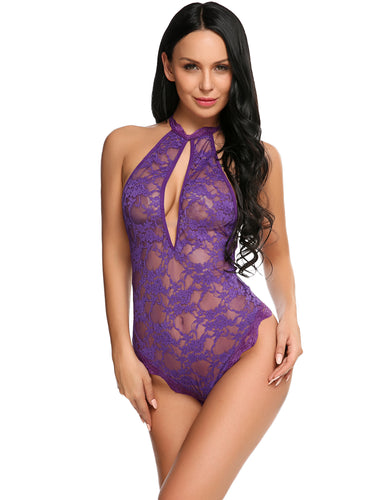 Purple Halter Keyhole Hollow Lace Bodysuit