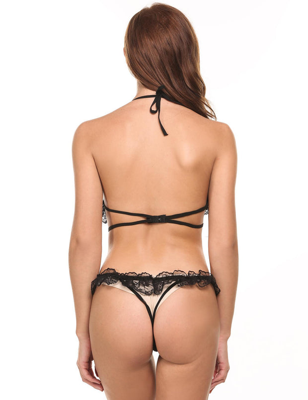 Lace Cut Out Backless Bow Sexy Nightwear Lingerie Bodysuit Black