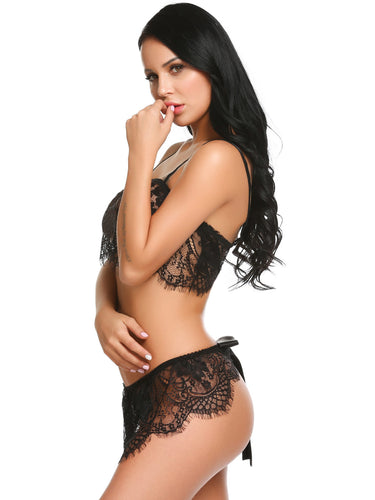 Black Lace Patchwork Lingerie Set