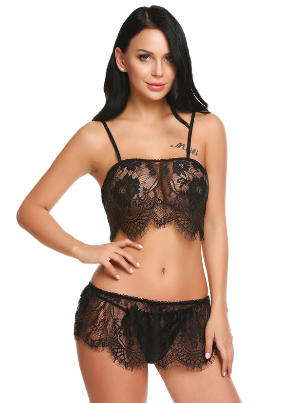 Lace Patchwork Sexy Spaghetti Strap Chemise G-string Black