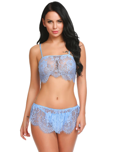 Light Blue Lace Patchwork Lingerie Set