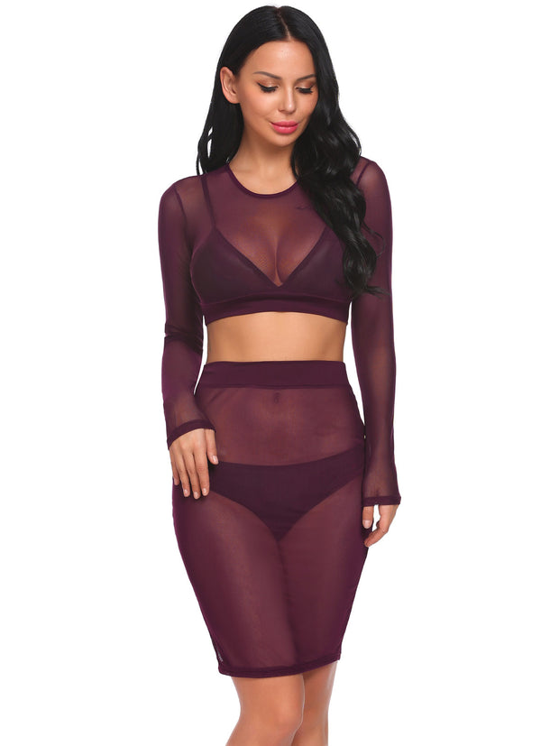 Mesh See Through Sexy Short Blouse Elastic Waist Skirt Cover Up Set Purple