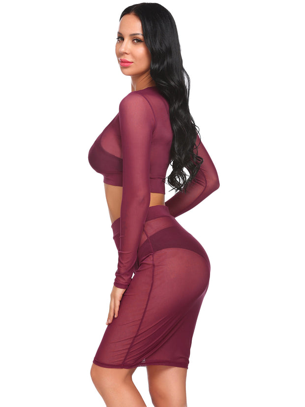 Mesh See Through Sexy Short Blouse Elastic Waist Skirt Cover Up Set Rose Purple