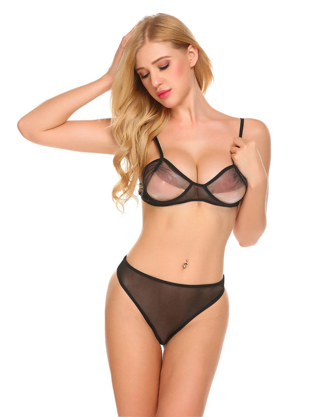 Spaghetti Strap Bandage Hollow Out See Through Underwear Suits Black