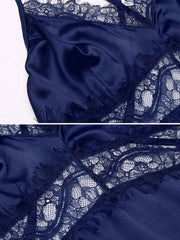 Satin Cami Set Lace Patchwork Pajamas Set Sleepwear blue