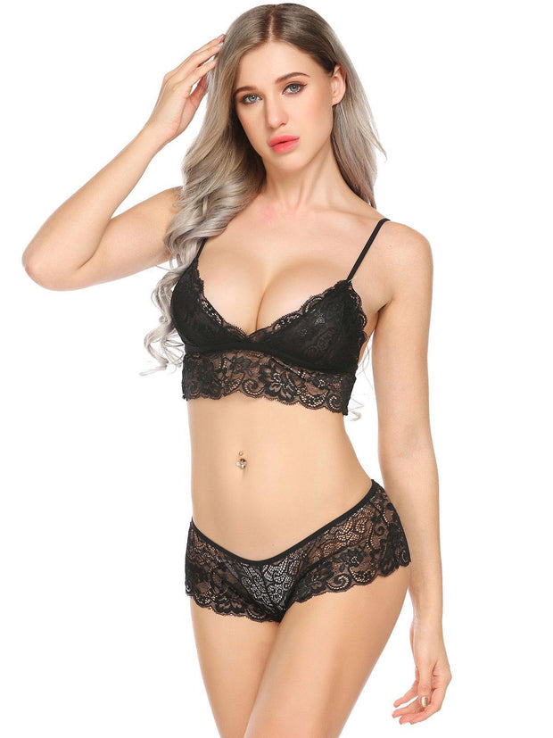 Sheer See Through Floral Lace Bra Panties Set Sleepwear Black