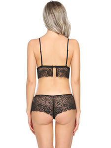 Black Sheer Floral Lace Lingerie Set