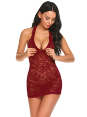 Lace Patchwork Halter Package Hip Chemise G-string Lingerie Wine Red