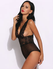 V-Neck Lace Mesh Open Crotch Lingerie