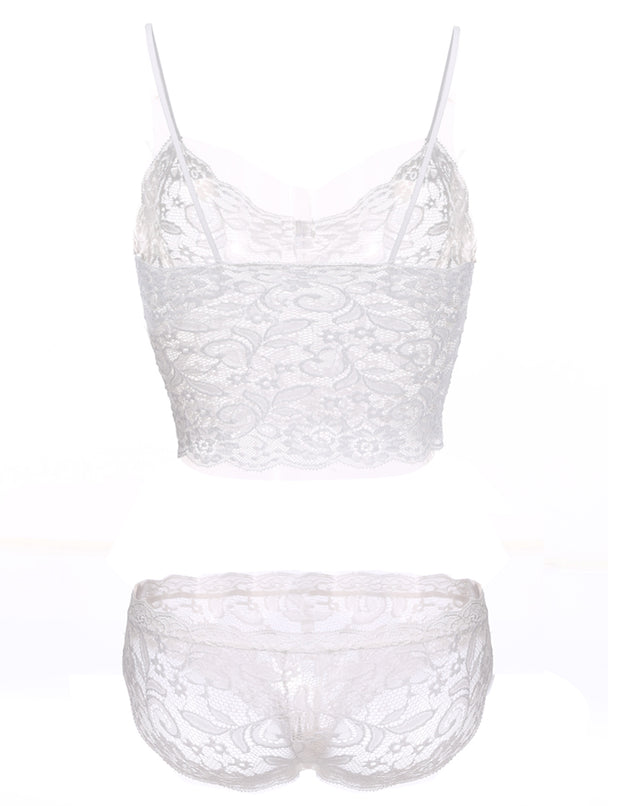 Sexy Hollow Lace See-through Push Up Corset Bra Set