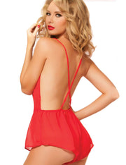 V-Neck Backless Lace Mesh Patchwork Lingerie