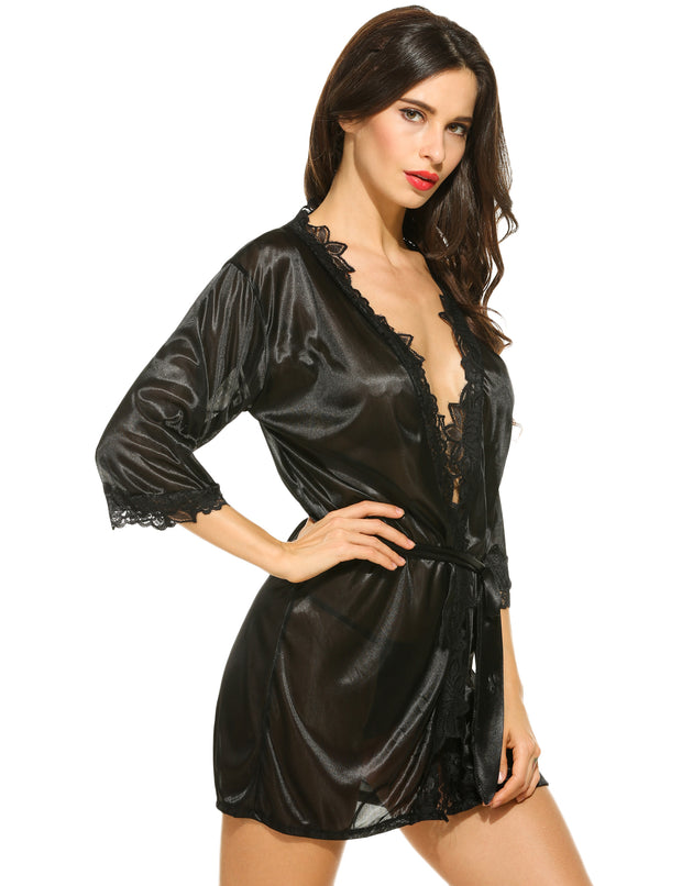 Sexy Lace Patchwork Robe With G-String