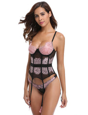 Lace Patchwork Slimming Bustier Corset Shapewear