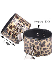10Pcs Set Erotic Leather Leopard With Lock Sex Toys