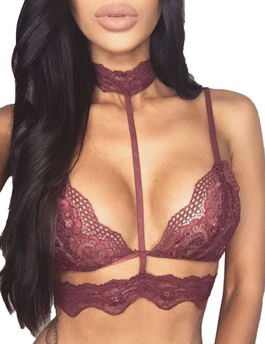 Lace Floral  V Neck Bra