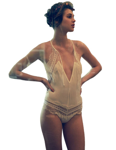Lace Halter Backless Bodysuit