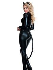 Sexy Cat O-Neck Long Sleeve  Club Jumpsuit