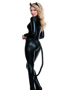 Cat Leather Long Sleeve Club Jumpsuit