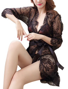 Lace Robe Floral Nightgown Nightwear