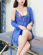 Lace Robe See Through Babydoll Set With Panty