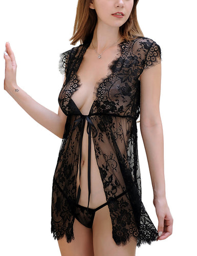 Lace See Through Robe & G-String Set