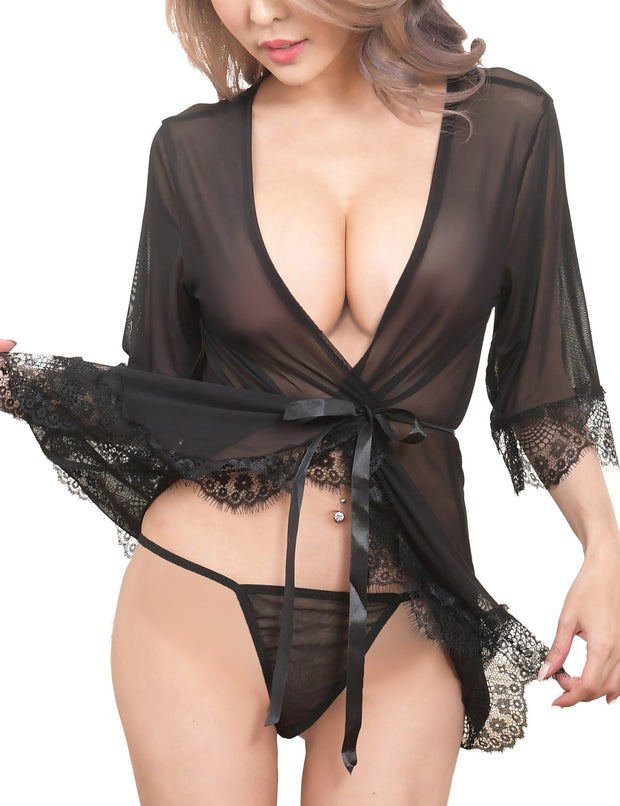 Sexy Robe & G-String Set Nightgown