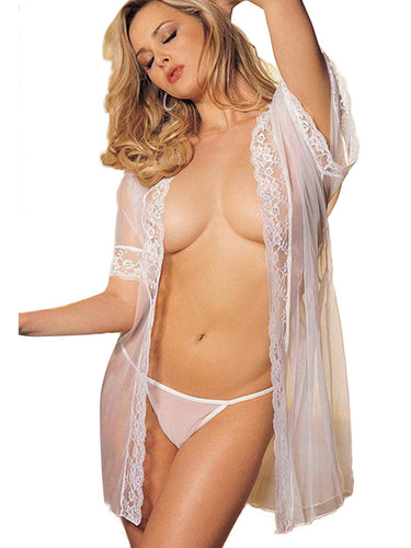 Sexy Lace Long Robe & G-String Lingerie Set