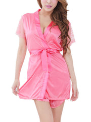 Satin Babydoll & Robe Set With G-String