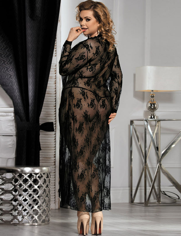 Alluring Lace Long Nightgown Robe