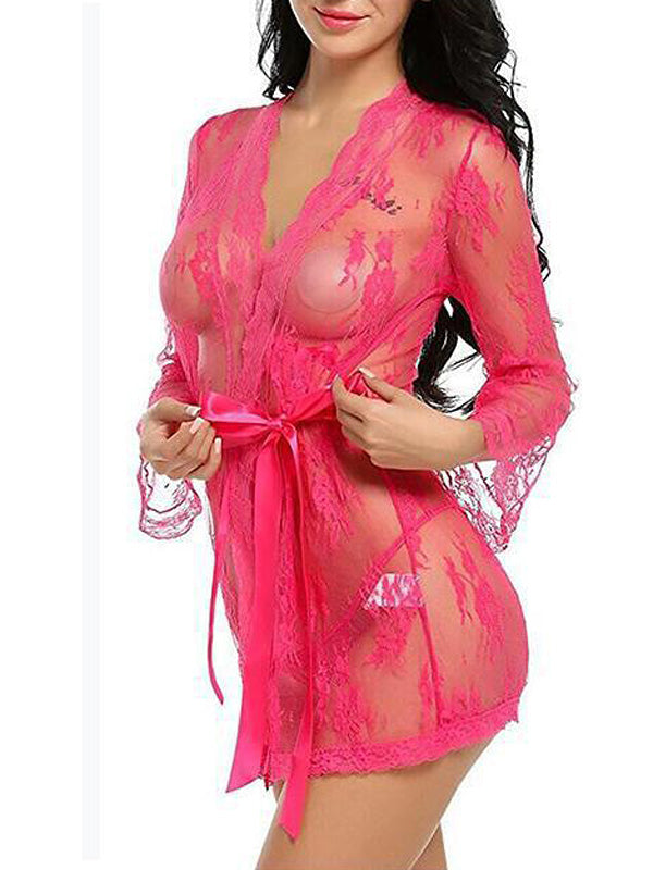 Lace Tie See Through Robe Kimono Nightgown