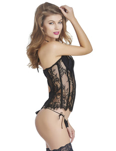 Lace See Through Bustier Corset Lingerie