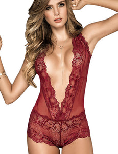Deep V Sleeveless Lace Patchwork Bodysuit