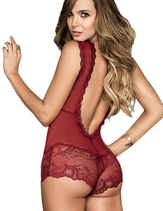 Deep V Sleeveless Lace Bodysuit