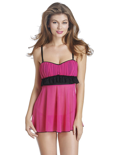 Rose Red Babydoll Chemise with G-string