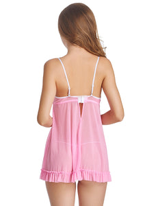 Lace Sheer Babydoll with G-string
