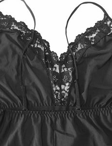 Black Lace Backless Nightwear